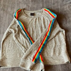 Free press sweater rainbow sleeves small